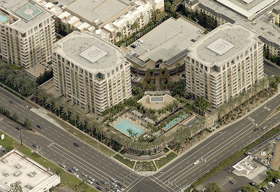 overview of Plaza Irvine condos